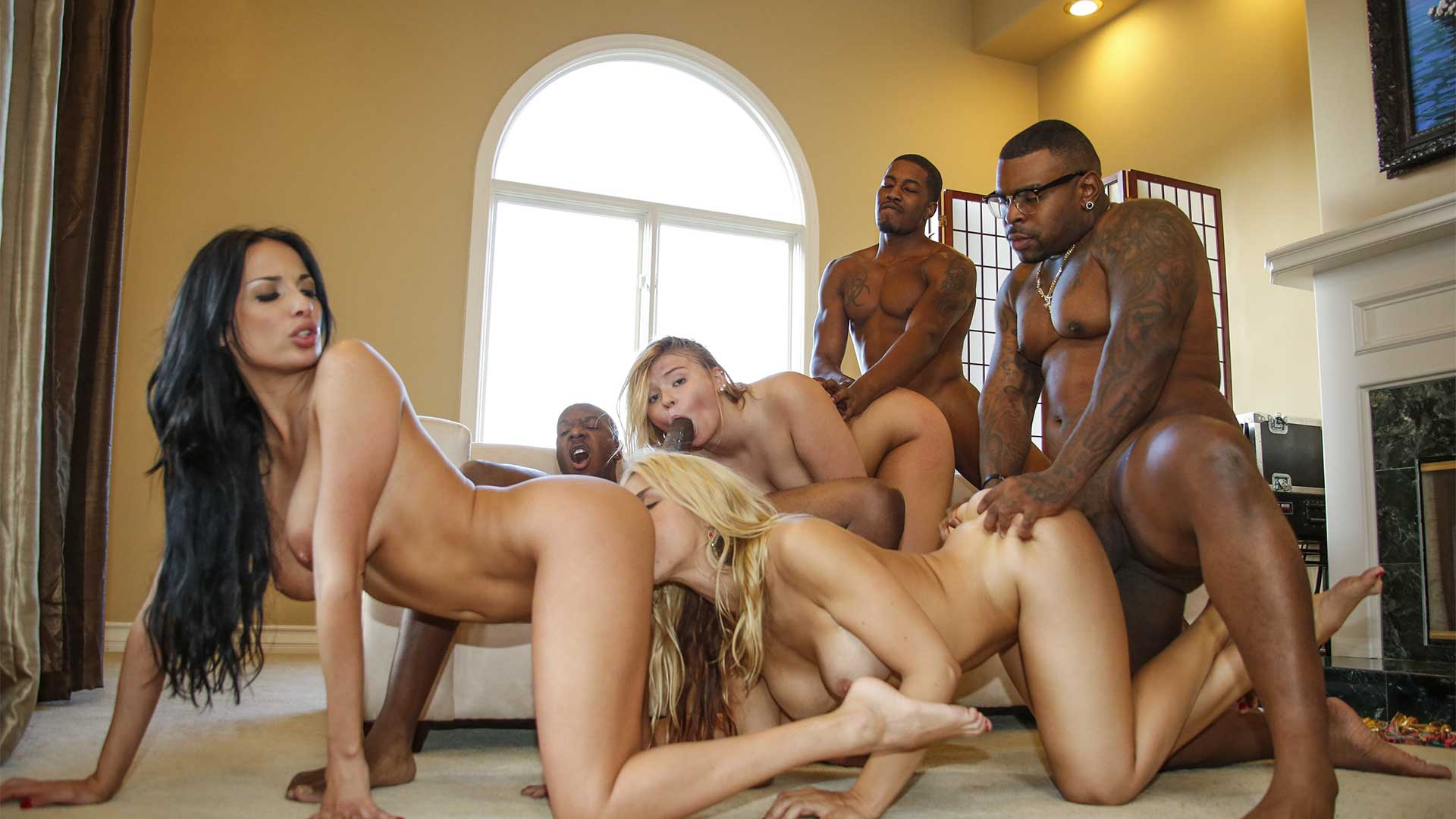 Horny housewives swinger sex orgy with a group of black bulls interracial